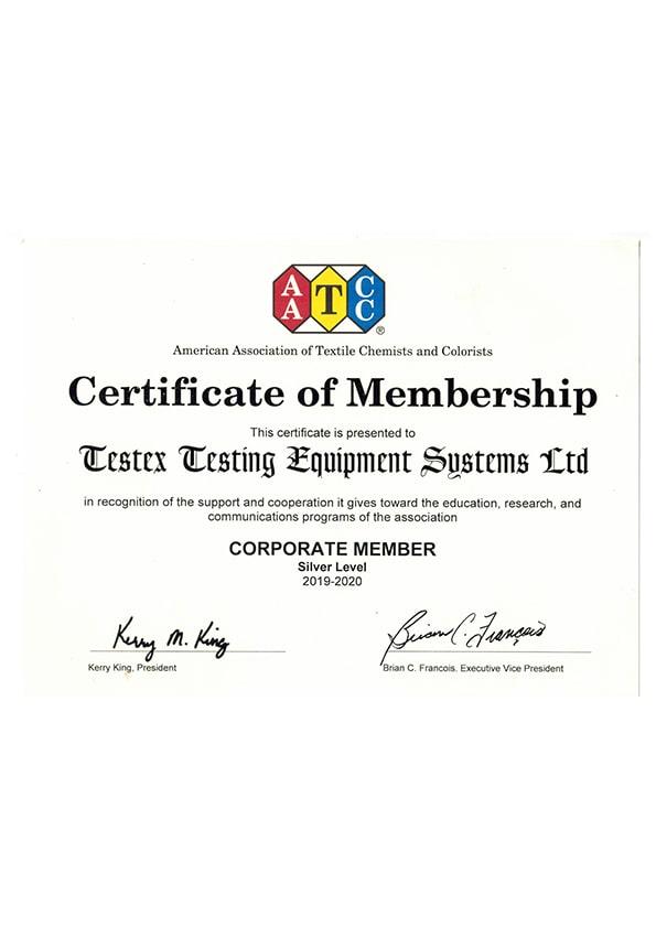 Свидетельство о членстве AATCC (2018-2019)