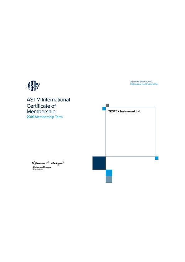 TESTEX CERTIFICATIONS_0003_ASTM International Certificate Of Membership(2019)