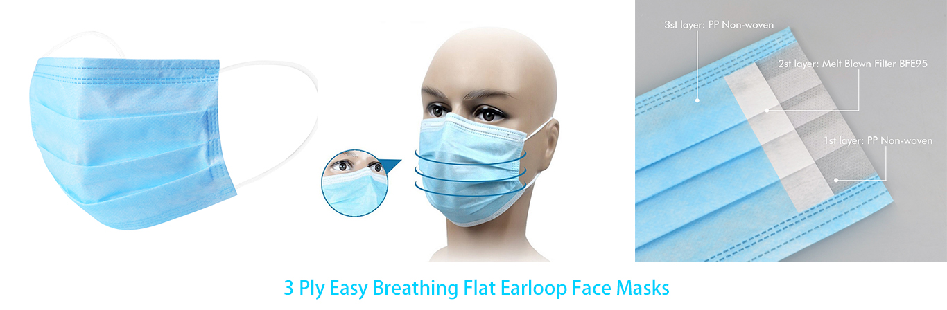 disposable 3 ply easybreathing flat earloop face masks